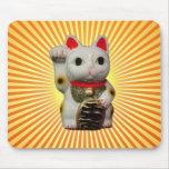El cojín de ratón afortunado japonés del gato MANE Tapete De Ratón