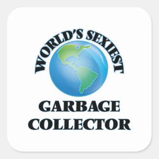 El colector de la basura más atractivo del mundo pegatina cuadrada