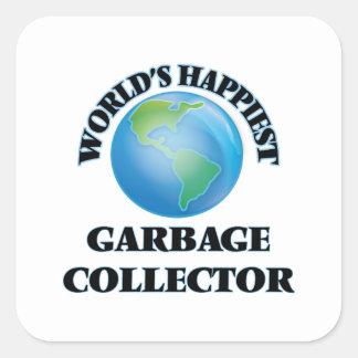 El colector de la basura más feliz del mundo pegatina cuadrada