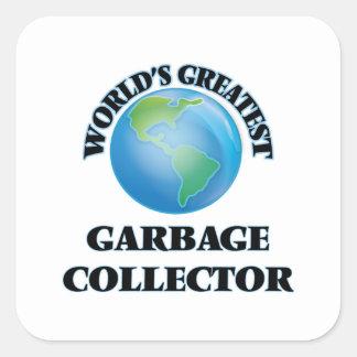 El colector de la basura más grande del mundo pegatina cuadrada
