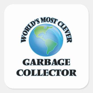 El colector de la basura más listo del mundo pegatina cuadrada