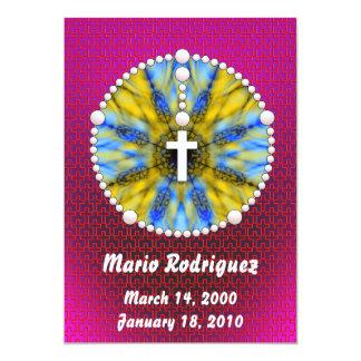 """El colector ideal del rosario azul y amarillo invitación 5"""" x 7"""""""
