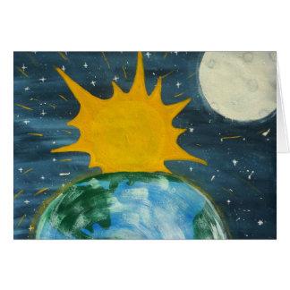 Él colgó el Sun y la luna Tarjeta De Felicitación