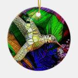 El colibrí de cristal adorno redondo de cerámica