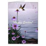 El colibrí de Pascua florece la tarjeta