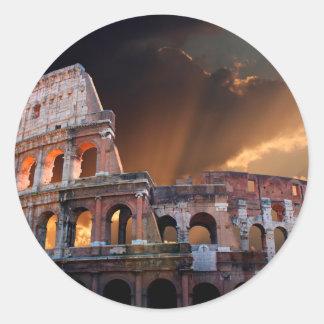 El coliseo de Roma antigua Pegatina Redonda