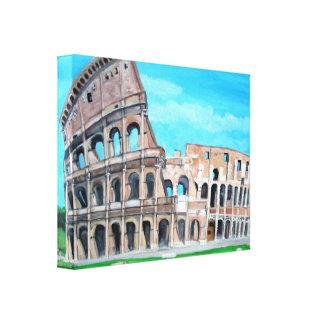 El coliseo, Roma estiró la impresión de la lona