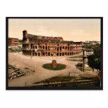 El Colisuem y meta Sudans, vintage de Roma, Italia Postal