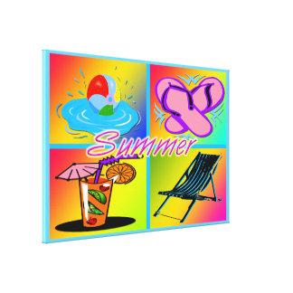 """El collage 36"""" del verano x24"""" estiró la impresión impresiones en lona estiradas"""