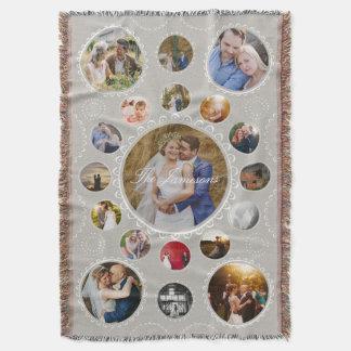 El collage circular de la foto de encargo crea sus manta