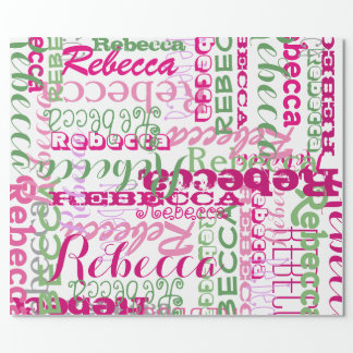 El collage conocido del chica rosado y verde por papel de regalo