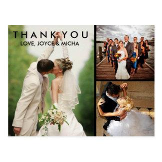 El collage de la foto del boda le agradece la tarjeta postal