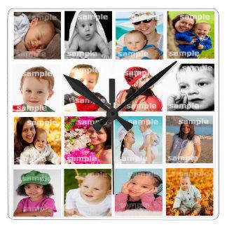El collage de la foto hace su propio DIY Reloj Cuadrado