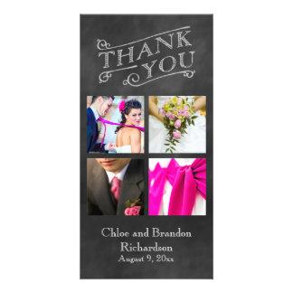 El collage de la pizarra le agradece tarjeta de la tarjeta fotografica personalizada
