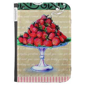 El collage de las fresas del vintage enciende la c