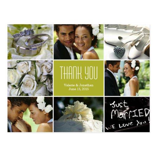 El collage del boda le agradece postal - chartreus