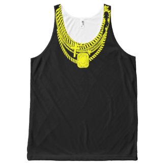 El collar bling de Sr. T Gold imprimió el tanque