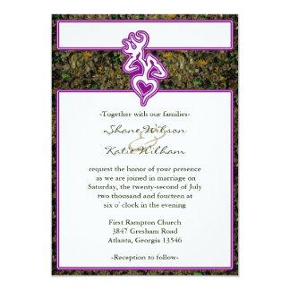 """El color de encargo púrpura del esquema de Camo de Invitación 5"""" X 7"""""""