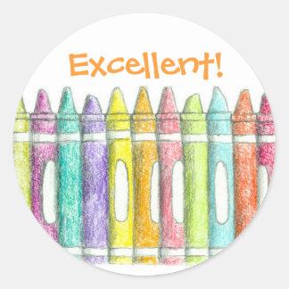 El color de la escuela dibuja con creyón el pegatina redonda