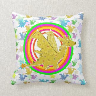 El color de neón del dragón del dibujo animado sue almohada