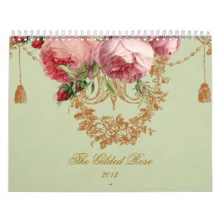 El color de rosa dorada calendarios
