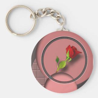 El color de rosa llavero redondo tipo pin