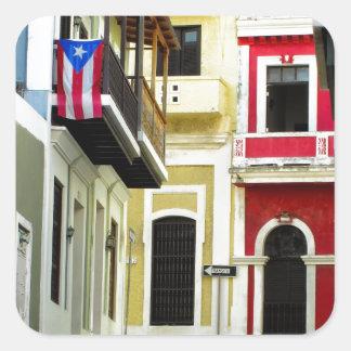 el color de San Juan viejo Puerto Rico Calcomanias Cuadradas