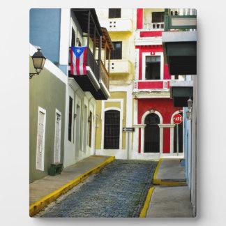 el color de San Juan viejo Puerto Rico Placa De Madera