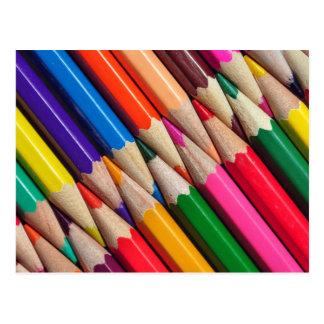 el color dibujó a lápiz textura del fondo de los postal