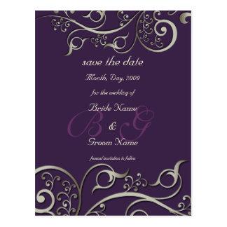 el color diy, ahorra la fecha, plata del monograma tarjeta postal