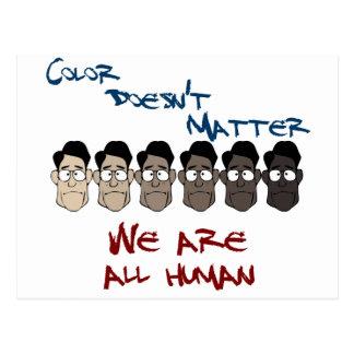 El color no importa - somos todos humanos tarjetas postales