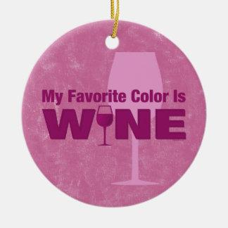 El color preferido es ornamento del vino adorno navideño redondo de cerámica