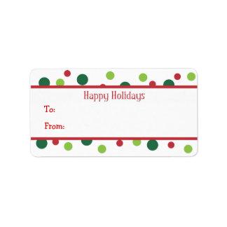 El color puntea etiquetas del regalo de vacaciones etiquetas de dirección