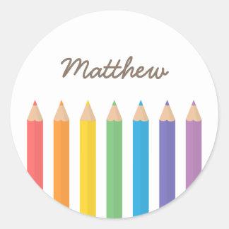 El colorante colorido del arco iris dibujó a lápiz pegatina redonda