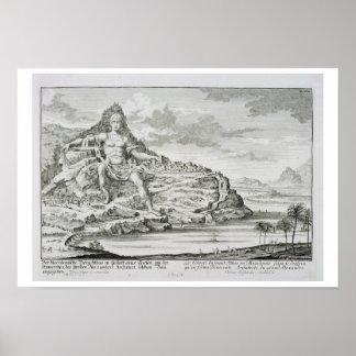 El coloso del monte Athos, Macedonia, un diseño b Poster