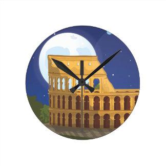 El Colosseum de Roma Reloj Redondo Mediano