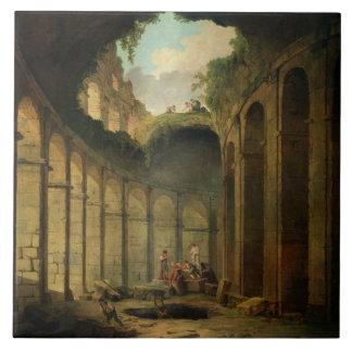 El Colosseum, Roma (aceite en lona) Azulejo Cuadrado Grande