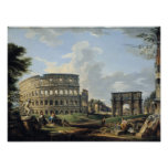 El Colosseum y el arco de Constantina Póster