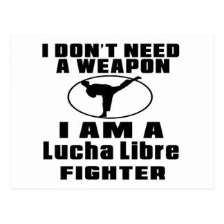 El combatiente de Lucha Libre no necesita el arma Tarjeta Postal