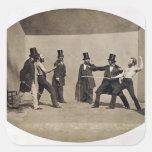 El combatir en duelo (foto) pegatina cuadrada
