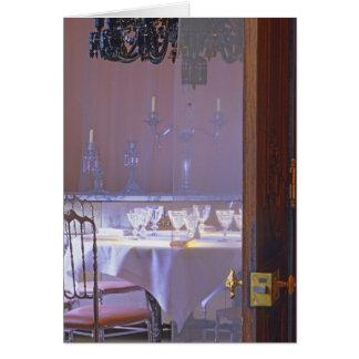 El comedor privado con el cristal negro tarjeta de felicitación