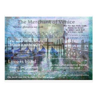 El comerciante de las citas de Venecia Shakespeare Tarjetas Postales