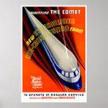 El cometa - poster del tren del vintage póster