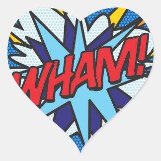 ¡El cómic WHAM! Pegatina En Forma De Corazón