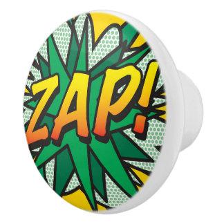 ¡El cómic ZAP! botón Pomo De Cerámica