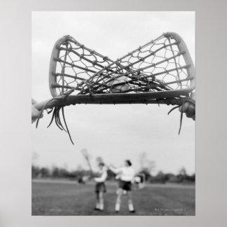El comienzo del juego en un lacrosse combina con e posters