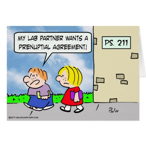 El compañero del niño quiere el acuerdo prenuptial tarjeta de felicitación