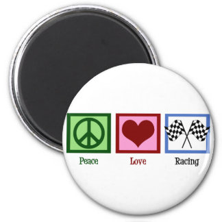 El competir con auto del amor de la paz imán redondo 5 cm