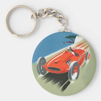 El competir con auto del vintage llaveros