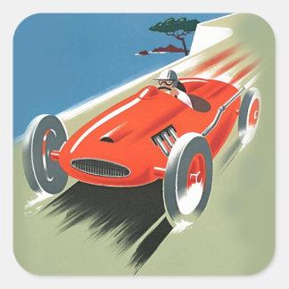 El competir con auto del vintage calcomanías cuadradass